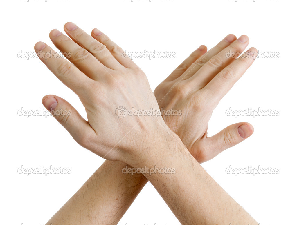 Image of male hands showing sign of stop